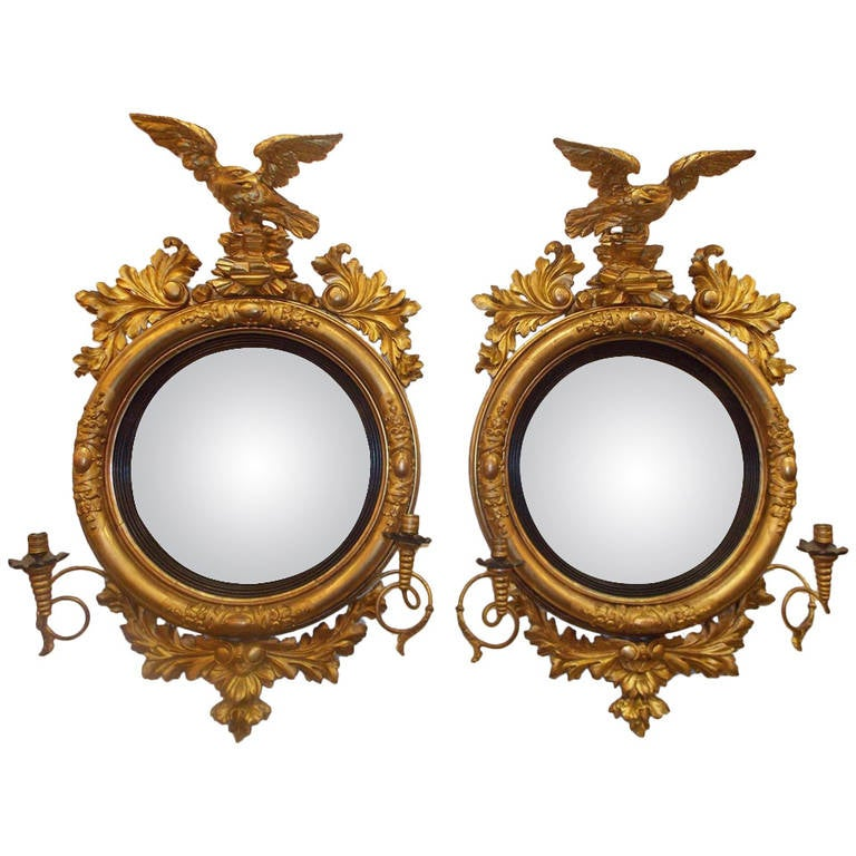 Pair of American Eagle Gilt Carved Wood Girandole Mirrors, Circa 1800 For Sale
