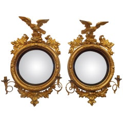Pair of American Eagle Gilt Carved Wood Girandole Mirrors, Circa 1800