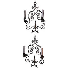Pair of French Bronze Two Arm Sconces.  Circa 1840