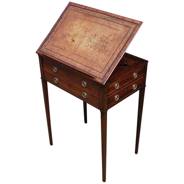 English Mahogany Leather Top Writing Desk.  Circa 1780