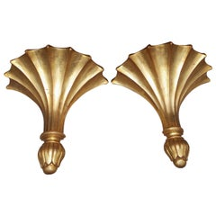 Pair of English Carved Wood and Gilt Wall Brackets, Circa 1830