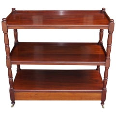 English Mahogany Three-Tiered Single-Drawer Trolley, Circa 1810