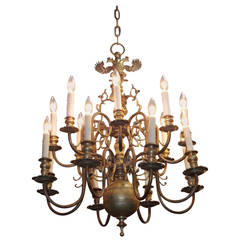 Prussian Brass Two-Tiered Double Eagle Medallion Chandelier, Circa 1880