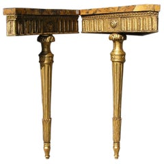 Pair of English Gilt and Marble Corner Consoles