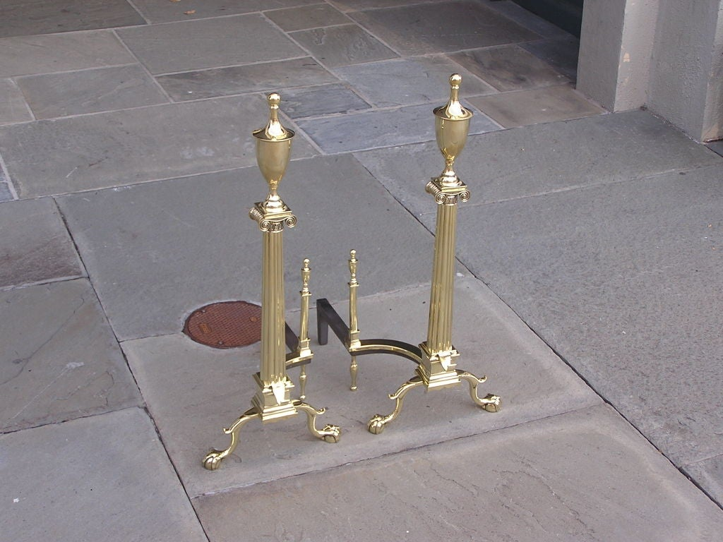 Pair of American Brass Andirons In Excellent Condition For Sale In Charleston, SC