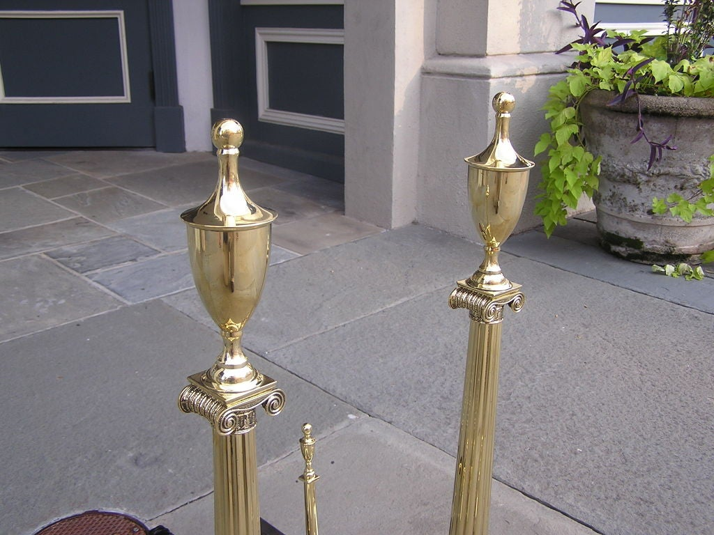 Pair of American Brass Andirons For Sale 2