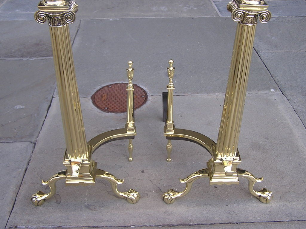 Pair of American Brass Andirons For Sale 5