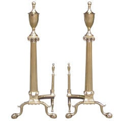 Pair of American Brass Andirons
