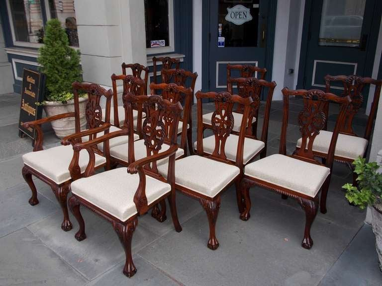 Set of twelve english mahogany dining room chairs circa for Mahogany dining room chairs