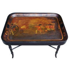 English Tole Tray on Stand Depicting American Revolution. Circa 1810
