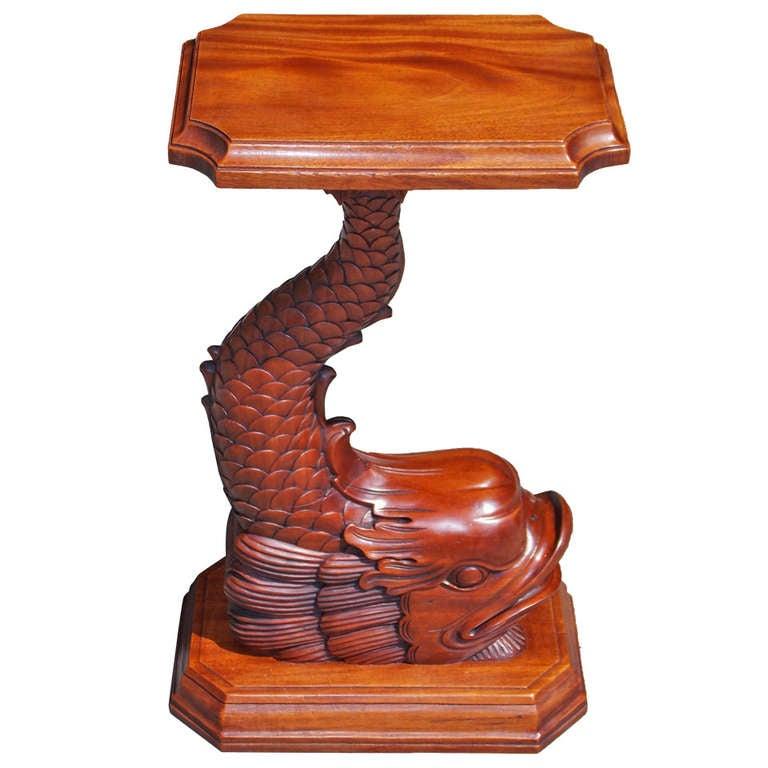 English Regency Mahogany Dolphin Pedestal Table. Circa 1840