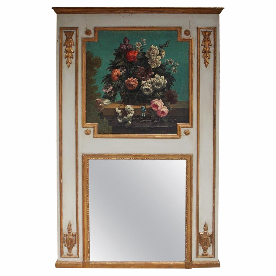 French Painted and Gilt Floral Trumeau Mirror. Circa 1790
