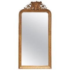 French Gilt Carved Wood Cherub Wall Mirror. Circa 1790