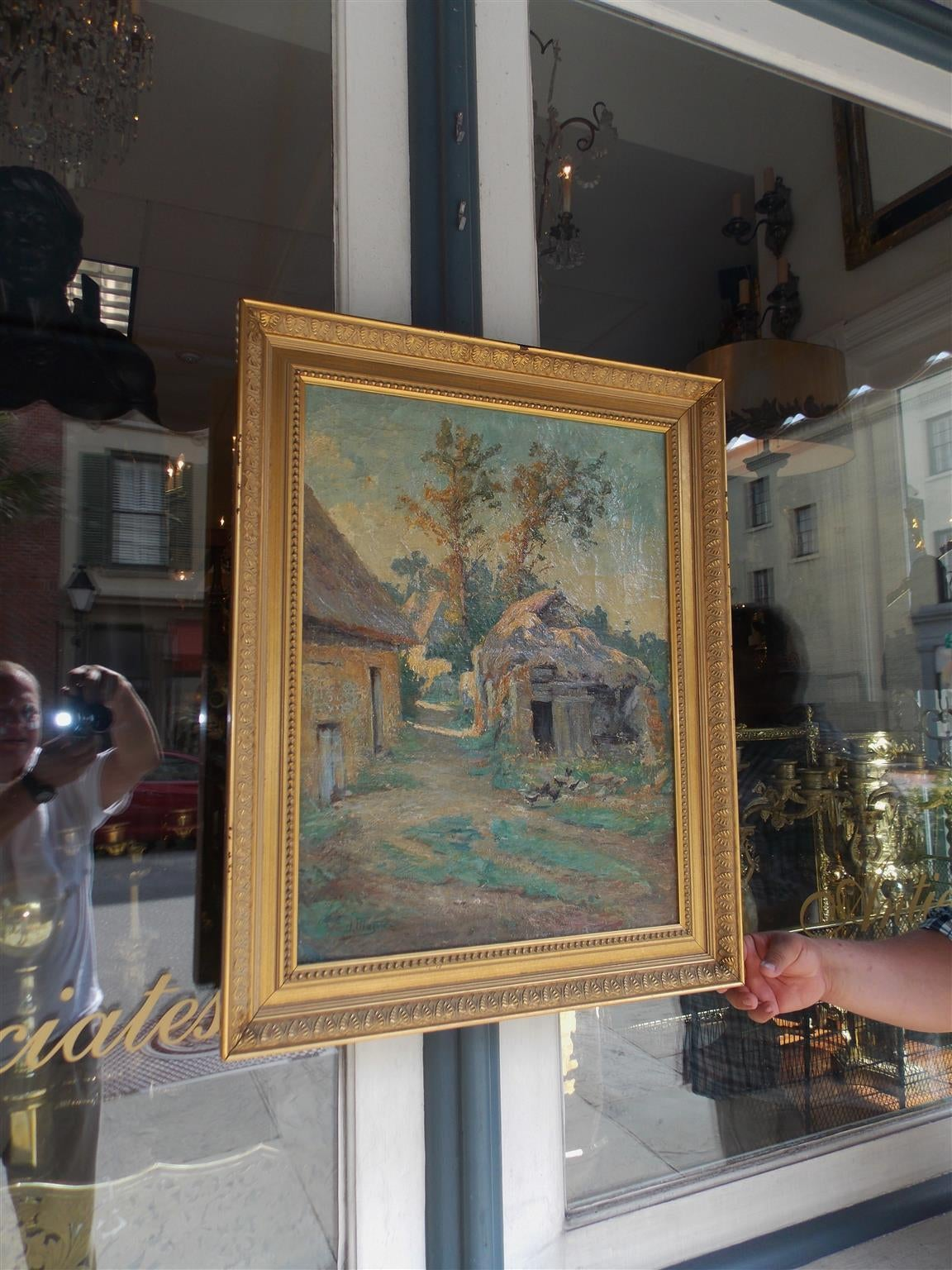 French landscape oil on canvas in gilt frame. Signed by artist.  A. Mazar.  Mid 19th Century