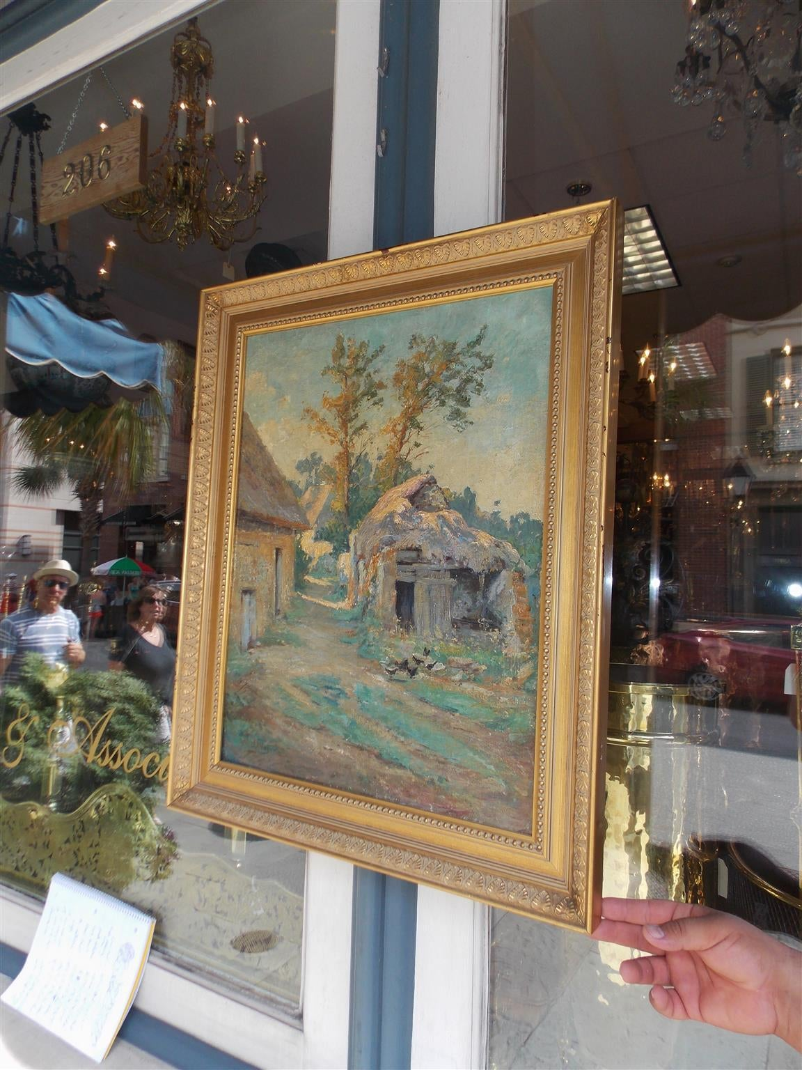 Louis Philippe French Landscape Oil on Canvas. Signed by Artist. A. Mazar. Circa 1840 For Sale