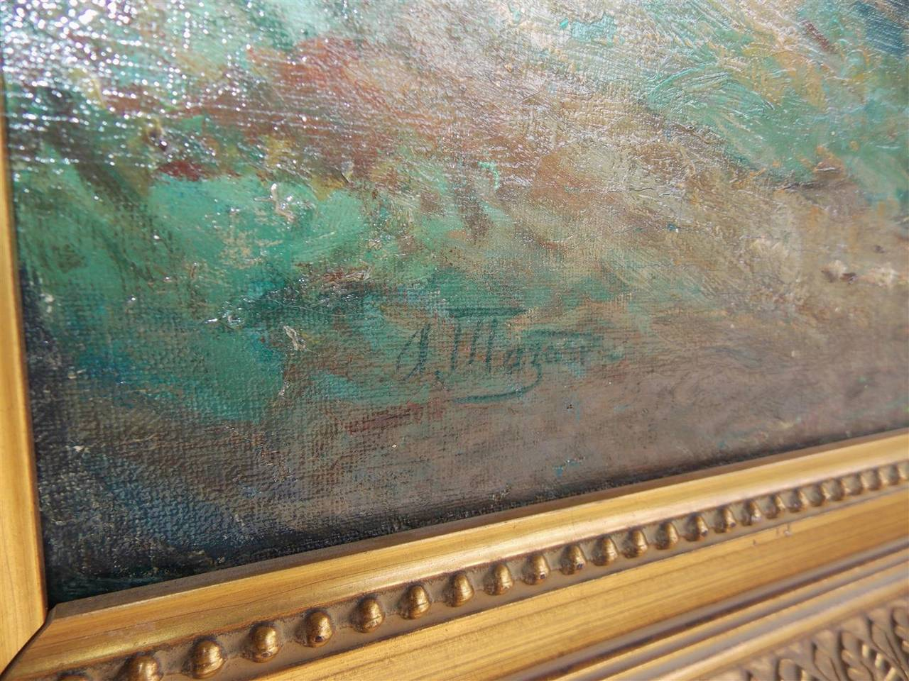 Mid-19th Century French Landscape Oil on Canvas. Signed by Artist. A. Mazar. Circa 1840 For Sale