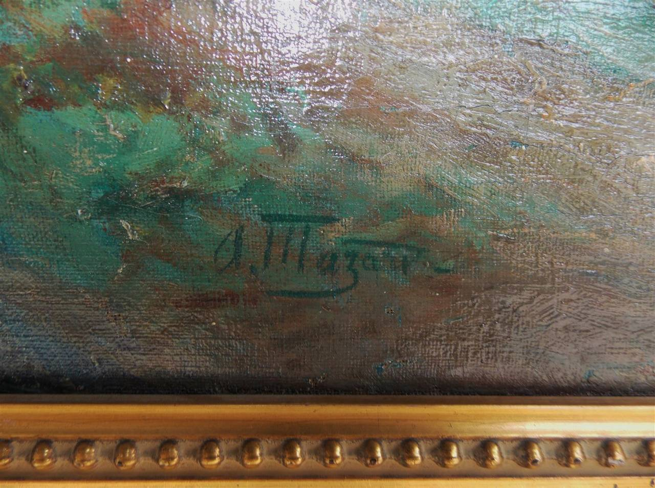 French Landscape Oil on Canvas. Signed by Artist. A. Mazar. Circa 1840 In Excellent Condition For Sale In Charleston, SC