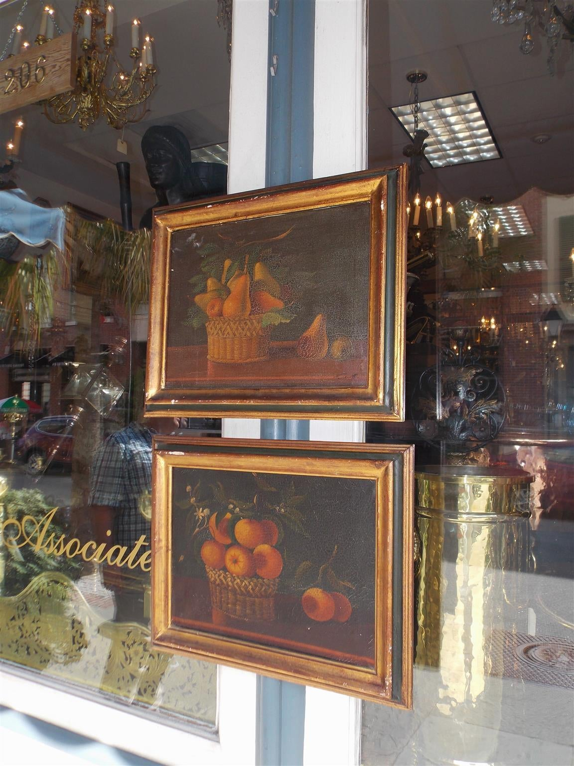 American Empire Pair of American Oil on Canvas Stills. Signed  T. Maria.  Circa 1830 For Sale