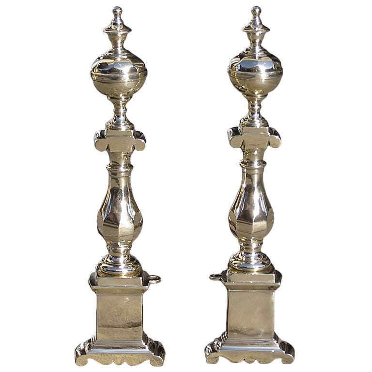 Pair of Charleston Brass Andirons