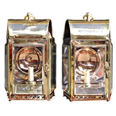 Pair of English Brass Ship Lanterns