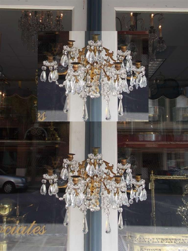 Pair of French Gilt Bronze and Crystal Sconces.  Circa 1830 2