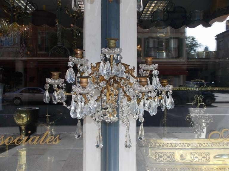 Pair of French Gilt Bronze and Crystal Sconces.  Circa 1830 In Excellent Condition For Sale In Charleston, SC