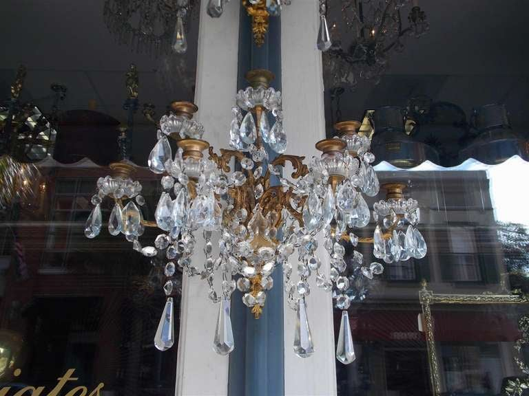 19th Century Pair of French Gilt Bronze and Crystal Sconces.  Circa 1830 For Sale
