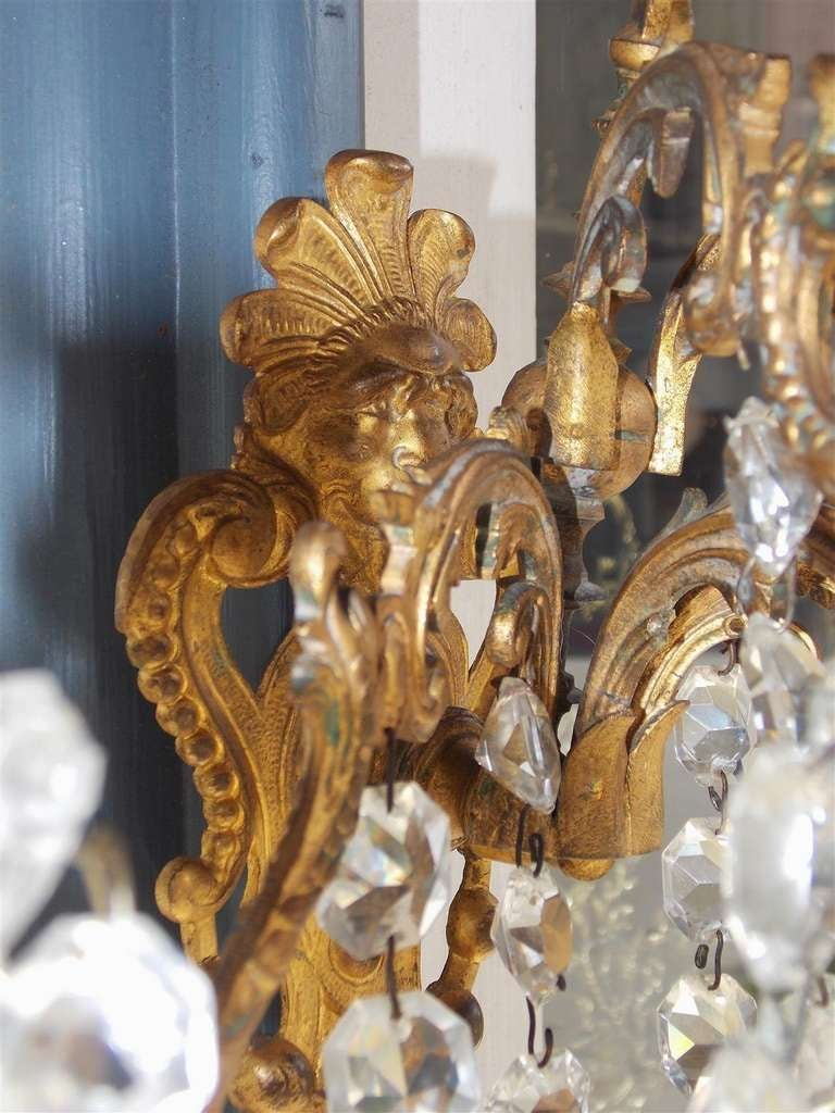 Pair of French Gilt Bronze and Crystal Sconces.  Circa 1830 For Sale 2