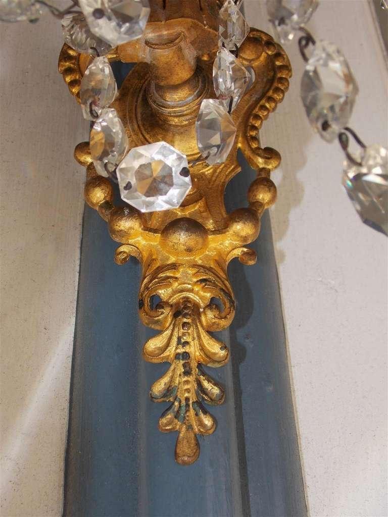 Pair of French Gilt Bronze and Crystal Sconces.  Circa 1830 For Sale 4