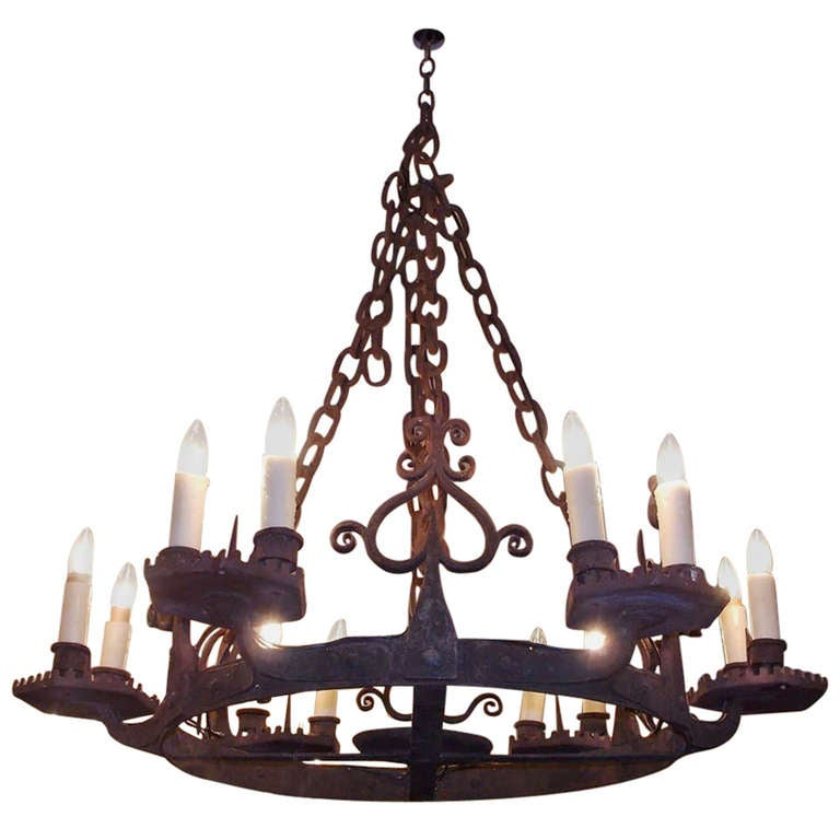 French Wrought Iron Chandelier. Circa 1830