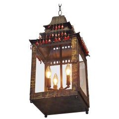 French Hand Painted Tole Pagoda Hanging Lantern, Circa 1850