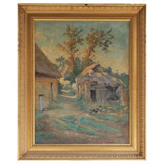 French Landscape Oil on Canvas. Signed by Artist. A. Mazar. Circa 1840