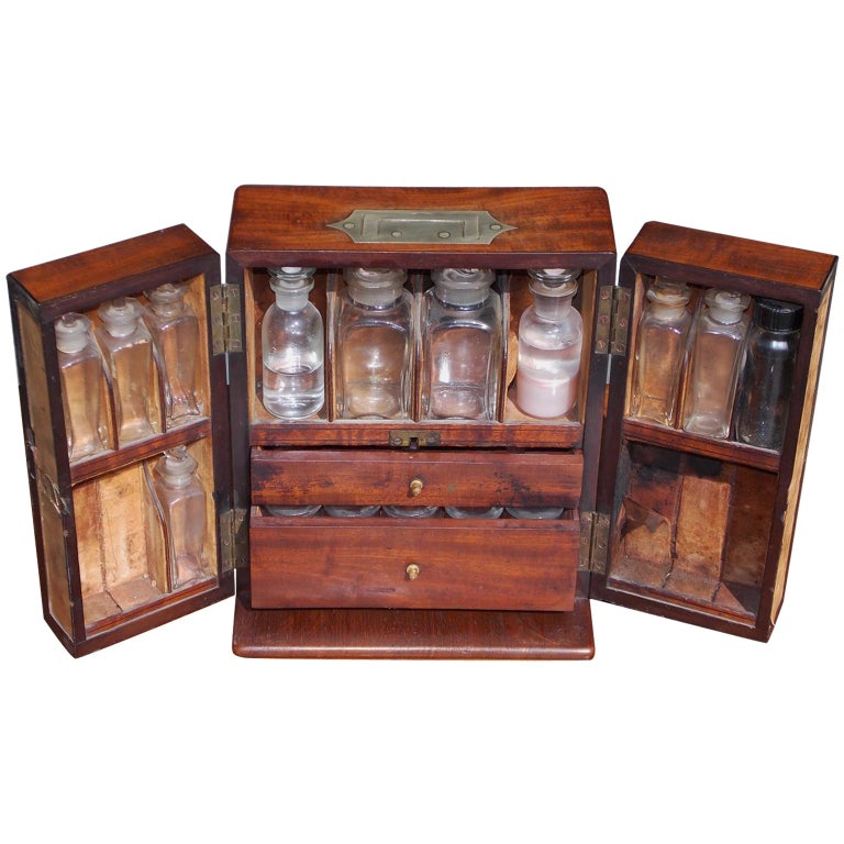 English Mahogany Military Campaign Medical Box, Circa 1820 For Sale