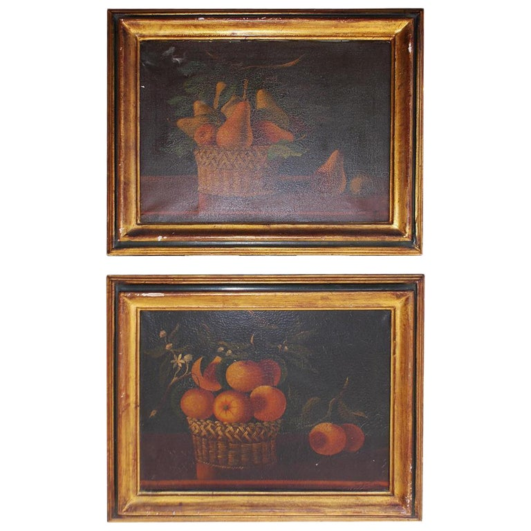 Pair of American Oil on Canvas Stills. Signed  T. Maria.  Circa 1830 For Sale