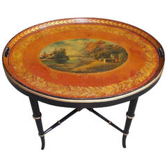 English Tole Landscape Oval Tray on Stand, Circa 1810