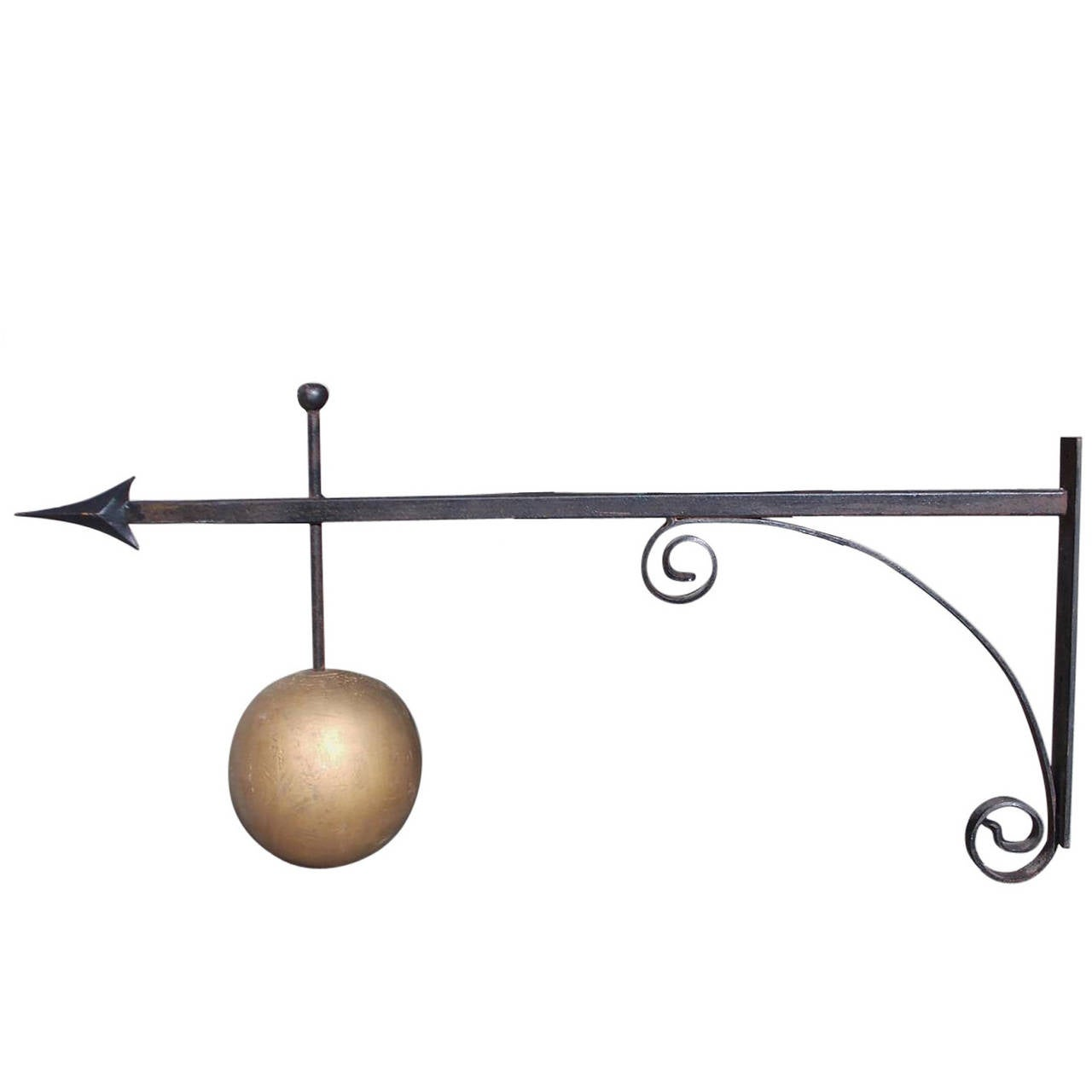 American Wrought Iron and Gilt Trade Sign Bracket , Circa 1880