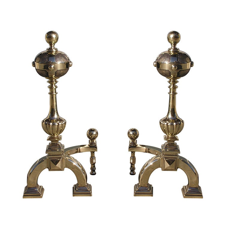 Pair of Italian Brass Ball Top Andirons