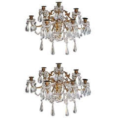 Pair of French Gilt Bronze and Crystal Sconces.  Circa 1830