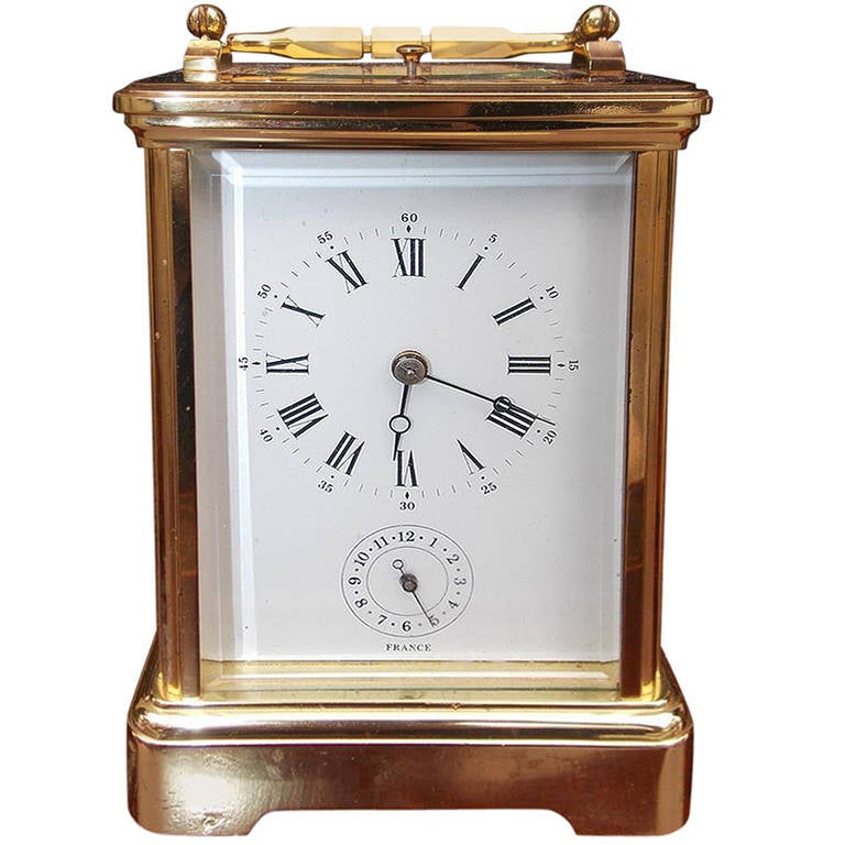 French Bronze and Porcelain Miniature Carriage Clock, Circa 1890