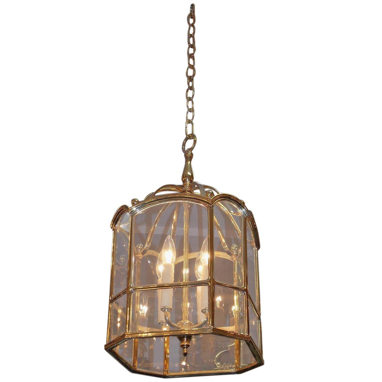 American Brass Octagonal Hanging Glass Lantern Circa 1850