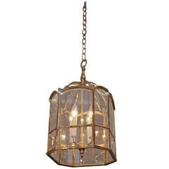 American Brass Octagonal Hanging Glass Lantern, Circa 1850