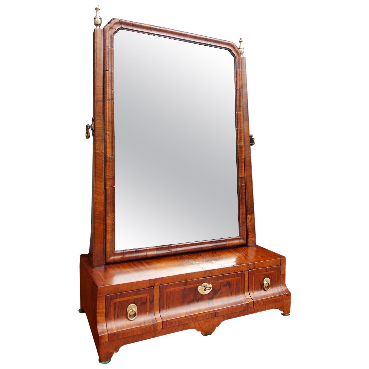 English Burl Walnut Inlaid Shaving Mirror. All Original.  Circa 1780