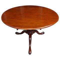 English Chippendale Mahogany Center Table With One Board Top.  Circa 1760