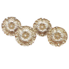 Set of Four American Cast Brass Floral Tie Backs, Harvin, Baltimore, Circa 1890
