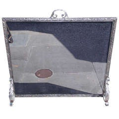 French Polished Steel Free Standing Fire Screen. Circa 1850