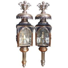 Pair of American Nickel Silver & Brass Coach Lanterns, Rochester, NY.  C. 1830