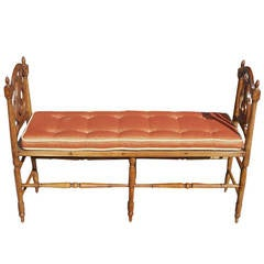 French Cherry Lyre Back Window Bench.  Circa 1830