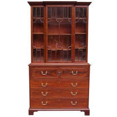 English Regency Mahogany Fall Front Secretary With Bookcase.  Circa 1790