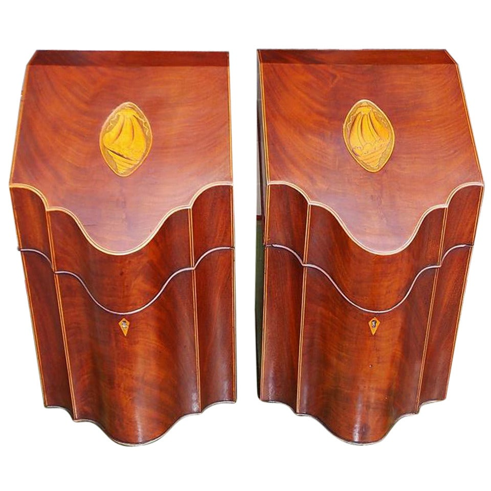 Pair of English Mahogany Serpentine Inlaid Cutlery Boxes. Circa 1790