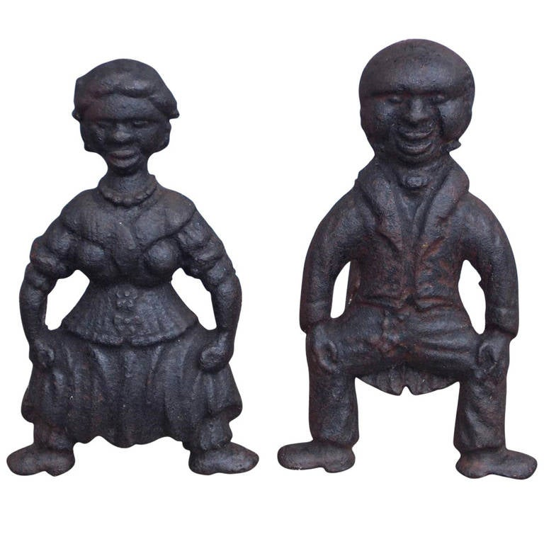 Pair of American Cast Iron Figural Andirons. Circa 1840 For Sale